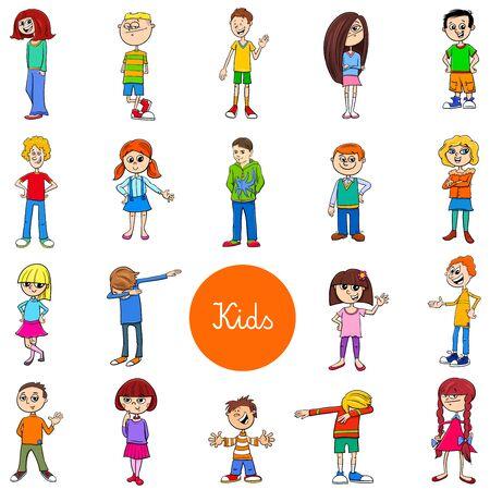 Cartoon-Illustration von Kindern und Jugendlichen Charaktere große Set