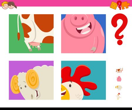 Cartoon Illustration of Educational Game of Guessing Farm Animals Species for Kids Illustration