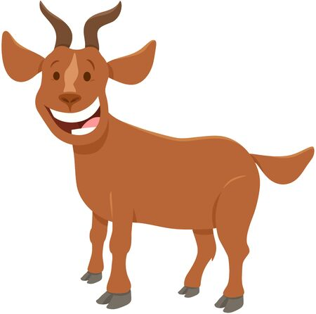 Cartoon Illustration of Happy Brown Goat Farm Animal Character