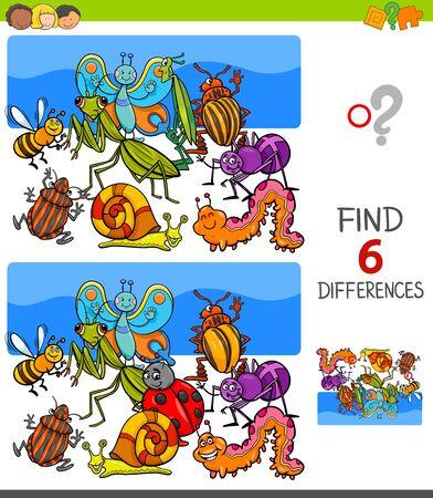 Illustrazione del fumetto di trovare sei differenze tra le immagini Gioco educativo per bambini con insetti personaggi animali Vettoriali