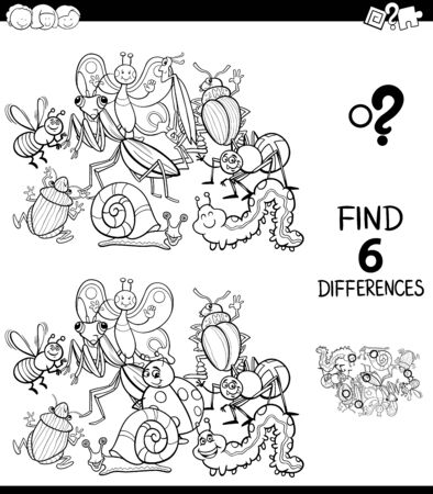 Black and White Cartoon Illustration of Finding Six Differences Between Pictures Educational Game for Children with Insects Animal Characters Coloring Book Ilustração