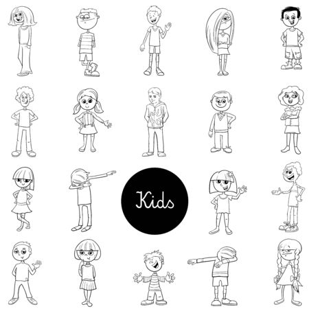 Black and White Cartoon Illustration of Children and Teens Characters Large Set