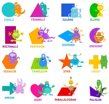 Educational Cartoon Illustration of Basic Geometric Shapes with Captions and Funny Monsters Fantasy Characters for Children Ilustração