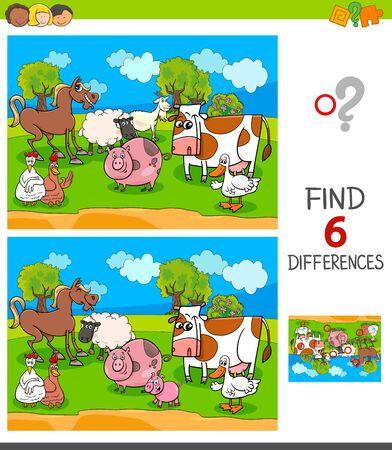 Ilustración de dibujos animados de encontrar seis diferencias entre imágenes Juego educativo para niños con personajes de animales de granja Ilustración de vector