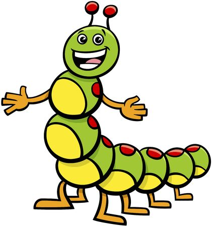 Cartoon Illustration of Happy Caterpillar Insect Animal Character Illustration
