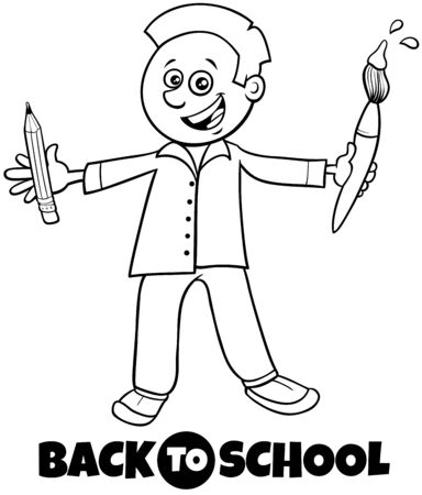 Black and White Cartoon Illustration of Elementary or Teen Age Boy Character with Pencil and Paintbrush and Back to School Sign Coloring Book 向量圖像
