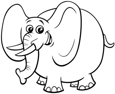 Black and White Cartoon Illustration of Funny African Elephant Cute Animal Character Coloring Book Illustration
