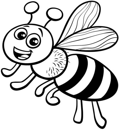 Black and White Cartoon Illustration of Funny Honey Bee Insect Animal Character Coloring Book