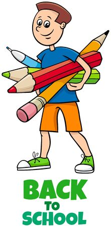 Cartoon Illustration of Elementary or Teen Age Boy Character with Pencils and Crayons and Back to School Sign