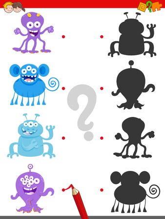 Cartoon Illustration of Join the Right Shadows with Pictures Educational Game for Children with Happy Monsters Characters