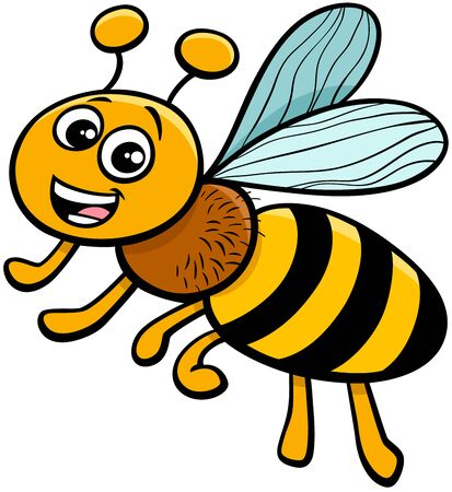 Cartoon Illustration of Funny Honey Bee Insect Animal Character
