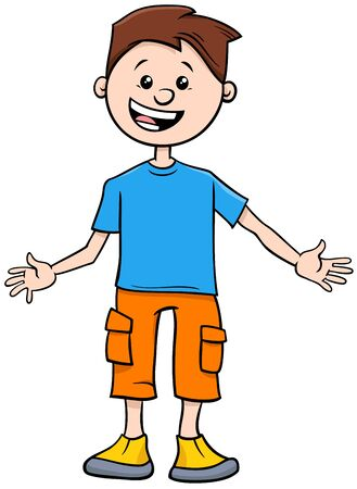 Cartoon Illustration of Elementary or Teen Age Funny Boy Character  イラスト・ベクター素材