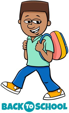 Cartoon Illustration of Elementary or Teen Age Boy Character with Back to School Sign