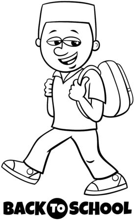 Black and White Cartoon Illustration of Elementary or Teen Age Boy Character with Back to School Sign Coloring Book