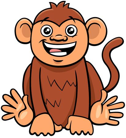 Cartoon Illustration of Cute Funny Monkey Primate Animal Character
