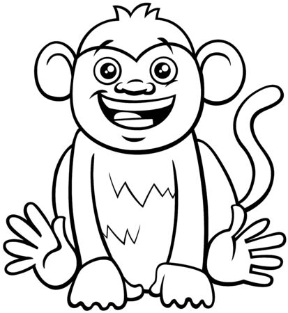 Black and White Cartoon Illustration of Cute Funny Monkey Primate Animal Character Coloring Book Ilustrace