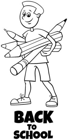 Black and White Cartoon Illustration of Elementary or Teen Age Boy Character with Pencils and Crayons and Back to School Sign Coloring Book
