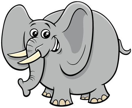 Cartoon Illustration of Funny African Elephant Cute Animal Character
