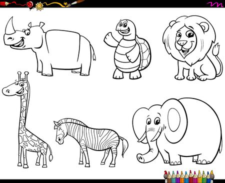 Black and White Coloring Book Cartoon Illustration of Wild Animal Funny Characters Collection