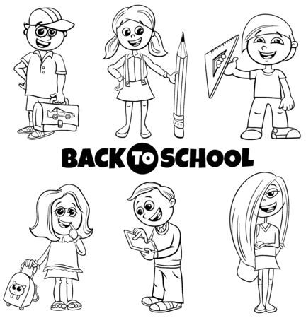 Black and White Cartoon Illustration of Elementary or Teen Age Girls and Boys Characters Set with Back to School Sign Иллюстрация