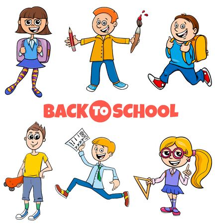 Cartoon Illustration of Elementary or Teen Age Kids Characters Set with Back to School Sign