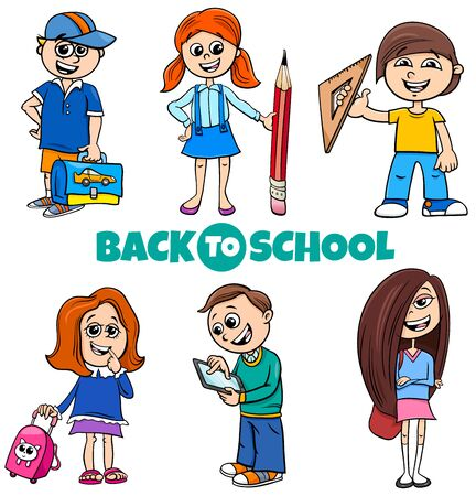 Cartoon Illustration of Elementary or Teen Age Girls and Boys Characters Set with Back to School Sign Иллюстрация