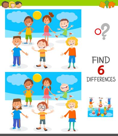 Cartoon Illustration of Finding Six Differences Between Pictures Educational Game for Children with Happy Kids and Teen Characters Group Illusztráció