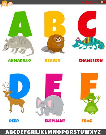 Cartoon Illustration of Colorful Alphabet Set from Letter A to F with Wild Animal Characters