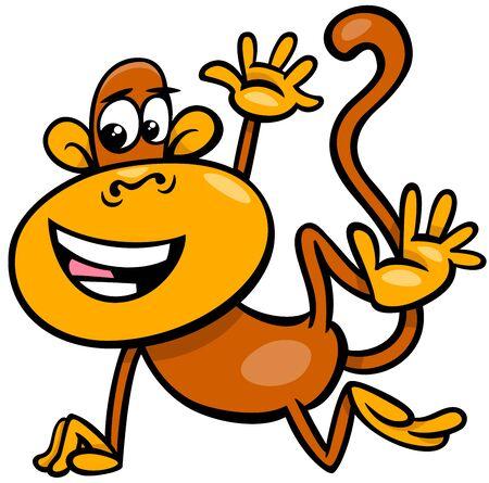 Cartoon Illustration of Happy Comic Monkey Primate Animal Character Illustration