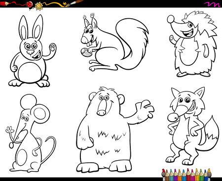 Black and White Coloring Book Cartoon Illustration of Wild Animal Characters Set