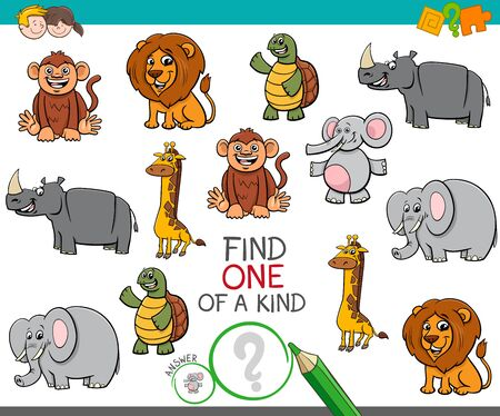 Cartoon Illustration of Find One of a Kind Picture Educational Activity Game with Wild Animal Characters Illustration