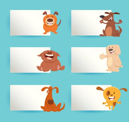 Cartoon Illustration of Funny Dogs or Puppies with White Cards or Boards Greeting or Business Card Design Set