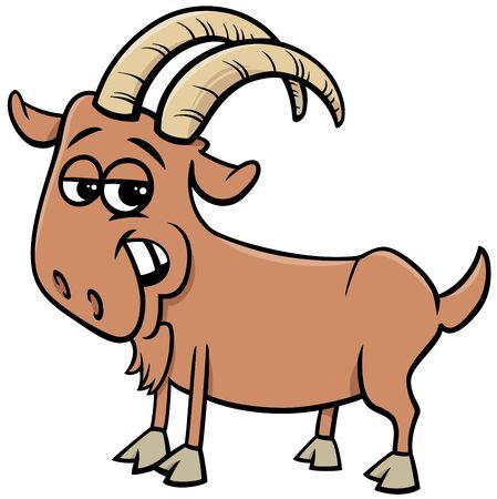 Cartoon Illustration of Funny Goat Farm Comic Animal Character