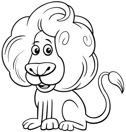 Black and White Cartoon Illustration of Funny Lion Wild Cat Comic Animal Character Coloring Book