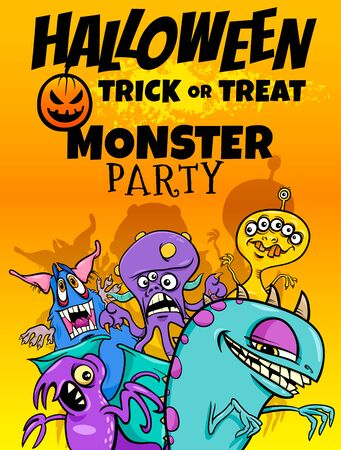 Cartoon Illustration of Halloween Holiday Party Poster or Banner Design with Comic Monster Characters Illusztráció
