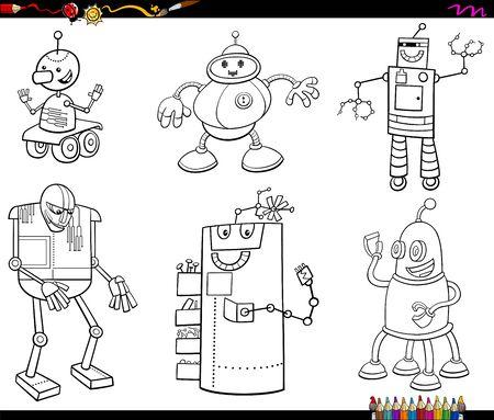 Black and White Cartoon Illustration of Comic Robots Characters Set Coloring Book Page Illusztráció