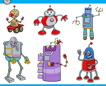 Cartoon Illustration of Robots or Droids Science Fiction Fantasy Characters Set