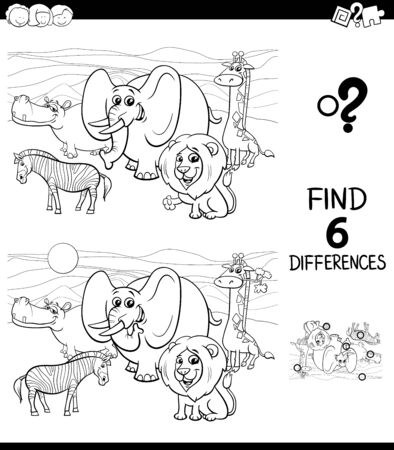 Black and White Cartoon Illustration of Finding Six Differences Between Pictures Educational Game for Children with Safari Wild Animal Comic Characters Coloring Book Ilustracja
