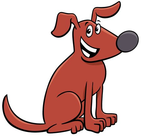 Cartoon Illustration of Funny Brown Dog or Puppy Comic Animal Character