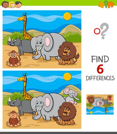 Cartoon Illustration of Finding Six Differences Between Pictures Educational Game for Children with Safari Wild Animal Characters