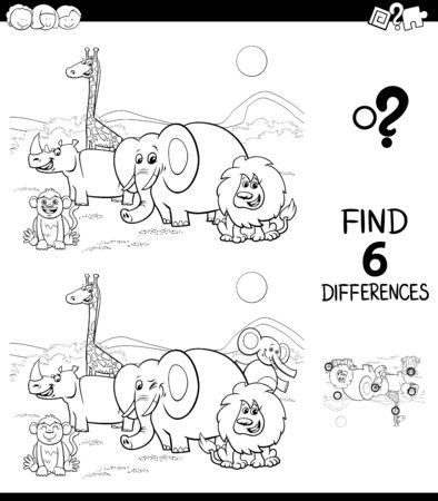 Black and White Cartoon Illustration of Finding Six Differences Between Pictures Educational Game for Children with Safari Wild Animal Characters Coloring Book 일러스트
