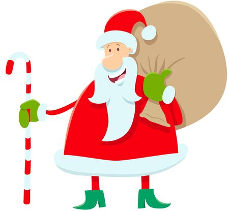 Cartoon Illustration of Funny Santa Claus Character with Bag of Christmas Presents