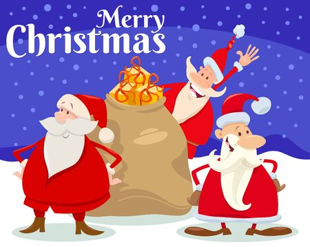Cartoon Illustration of Christmas Design or Greeting Card with Funny Santa Claus Characters