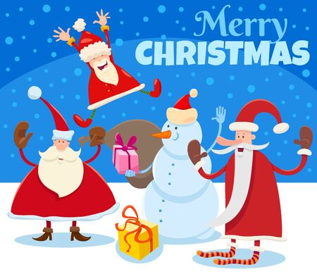 Cartoon Illustration of Christmas Design or Greeting Card with Santa Claus Characters