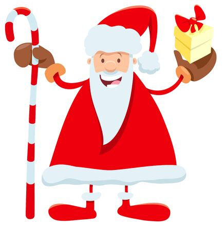 Cartoon Illustration of Funny Santa Claus Character with Bag Christmas Present and Cane