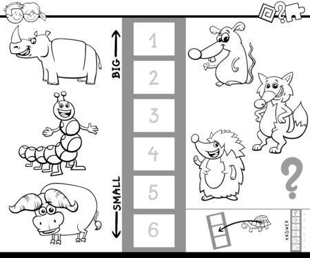 Black and White Cartoon Illustration of Educational Game of Finding the Largest and the Smallest Animal with Funny Characters for Kids Coloring Book 向量圖像