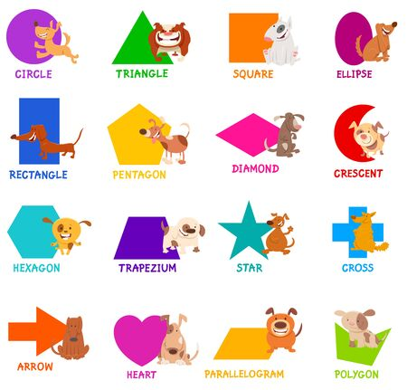 Educational Cartoon Illustration of Basic Geometric Shapes with Captions and Dogs Animal Characters for Children Illusztráció