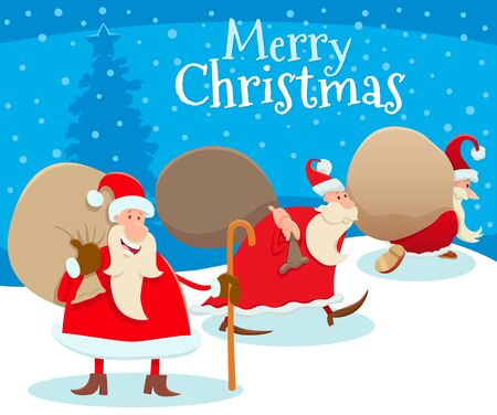 Cartoon Illustration of Christmas Design or Greeting Card with Happy Santa Claus Characters with Bag of Presents