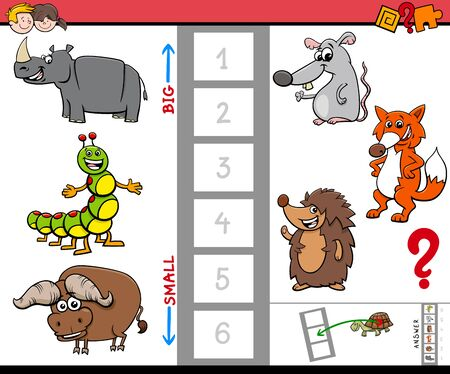 Cartoon Illustration of Educational Game of Finding the Largest and the Smallest Animal with Funny Characters for Children