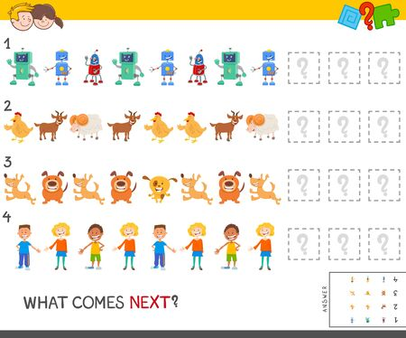 Cartoon Illustration of Completing the Pattern Educational Game for Kids with Funny Comic Characters